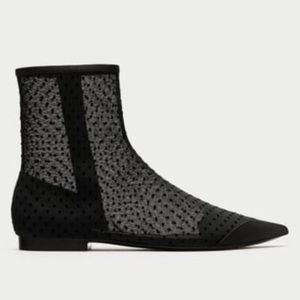 40/9 NWT ZARA MESH ANKLE BOOTS